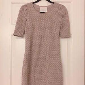 Beige Textured Bodycon Dress